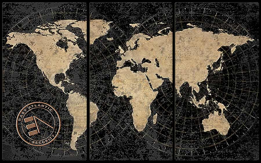 East Atlantic Security banner image of old world map on brick wall; cyber security in Asheville,NC.